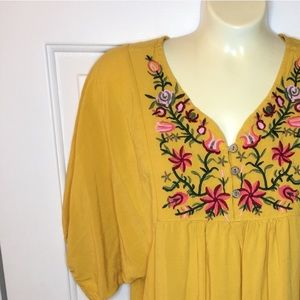 Embroidered Yellow Tunic Dress